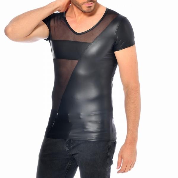 Wetlook-Shirt, halb im Netzstoff