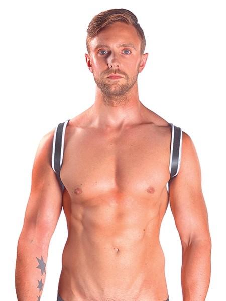 Leder Harness 'Sling' schwarz/weiß
