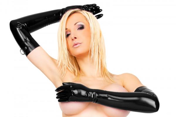 Latex Handschuhe mit D-Ring - lang