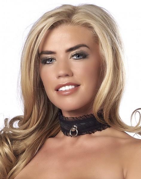 Satin-Look Halsband mit O-Ring