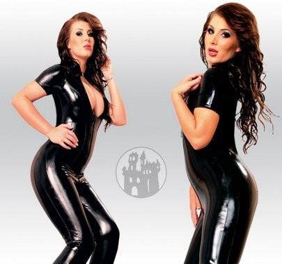 Latex Catsuit mit RV aus Latex-Hybridmaterial