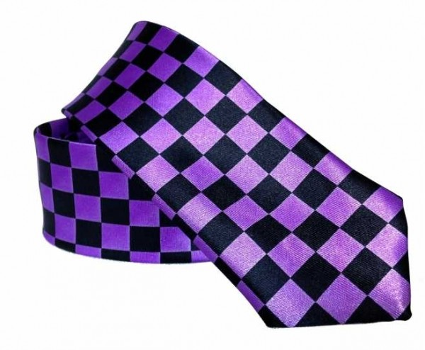 Krawatte mit lila Schachbrettmuster