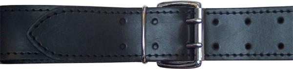Ledergürtel mit Nähten 5cm - schwarz