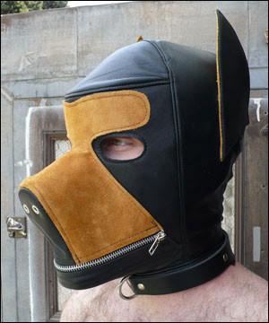 Zweifarbe Leder Hunde Kopfmaske
