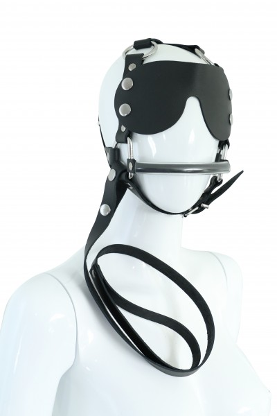 Leder-Kopfgeschirr mit Augenklappe und Leine
