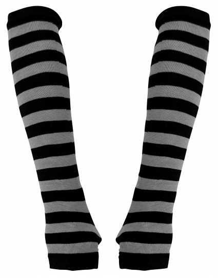 Armstulpen gestreift - schwarz/grau