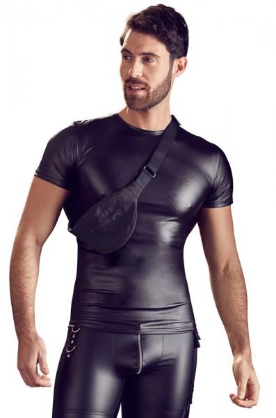 Shirt schwarz matt mit Bauchtasche