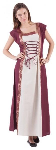 Mittelalter Kleid vorne - Natur/Bordeaux