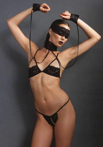 Bondage Lingerie Set mit Augenmaske