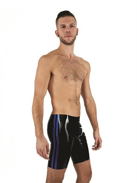 Latex Shorts 'Fucker' - schwarz/blau