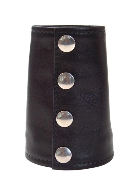 Leder Handgelenk-Geldbörse 'Stulpe' schwarz