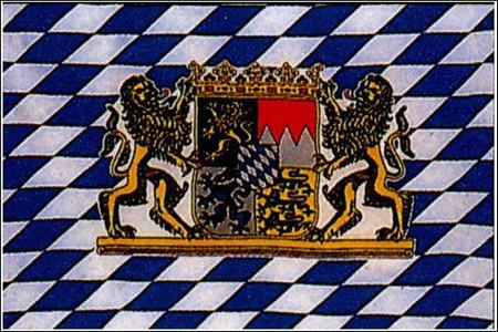 Schwenkfahne mit Holzstab 'Bayern mit Wappen + Löwen'