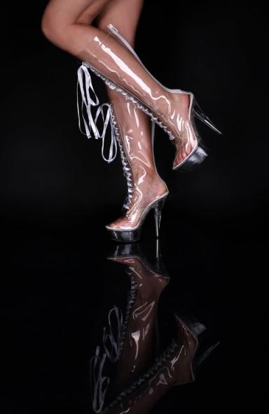 Plateau Knee Boots High Heels glasklar