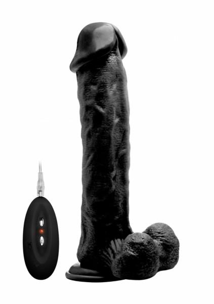 Realistischer Vibrator mit Hodensack schwarz 11 Inch