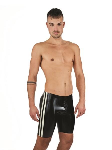 Latex Shorts 'Fucker' - schwarz/weiß