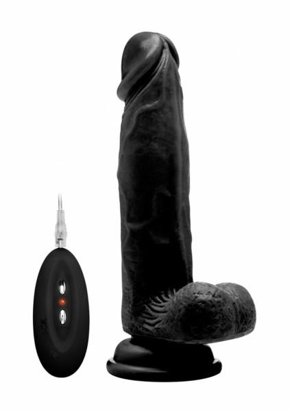 Realistischer Vibrator mit Hodensack schwarz 8 Inch