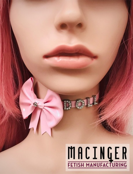 Schlichtes Halsband mit Schleife und individuellem Strass Schriftzug 'Rosaline' - MACINGER - Vorderansichz