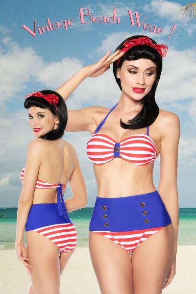 Vintage Bandeau Bikini mit Formbügeln und eingenähtem Kissen