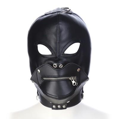 Kunstleder Maske mit abnehmbarem Mundteil