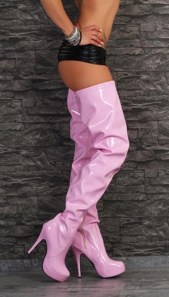 Crotch Plateau Overknee High Heels pink