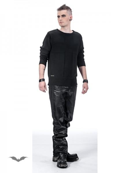 Schwarzer Pullover mit großem Kreuz und Nieten