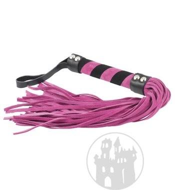 Lederpeitsche pink-schwarz mit 36 Striemen