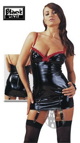 Lack Kleid mit Strapsen