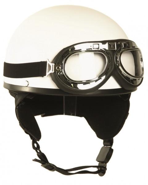 Helm Halbschale mit Brille weiß