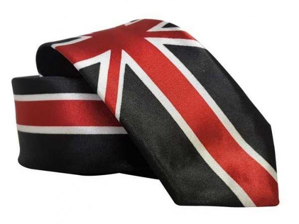 Krawatte mit schwarzer Großbritannien-Flagge