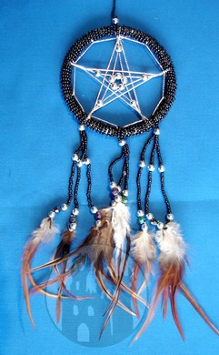 Dreamcatcher Pentagramm schwarz