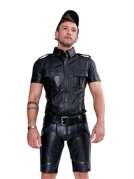 Leder Shirt 'Police' schwarz/blau