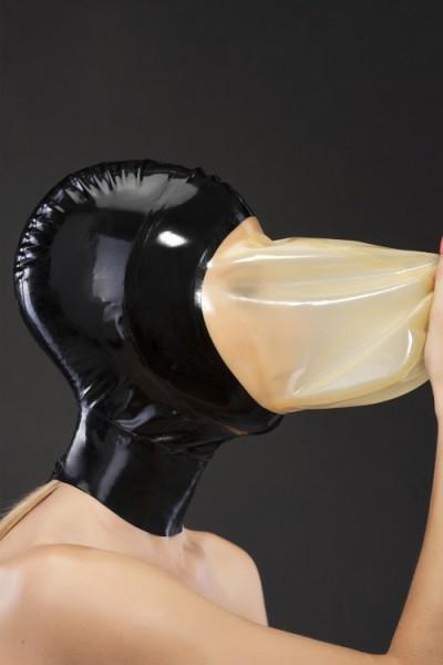 Latex Atemkontroll-Maske mit Kontrastfarbe offen