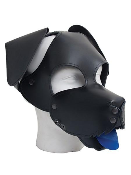 Leder Hundemaske mit angelegten Ohren - schwarz