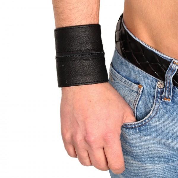 Leder-Armband Geldbörse - schwarz