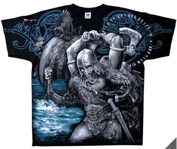 Shirt mit Wikinger-Szene