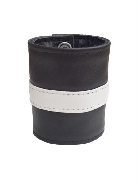 Leder Handgelenk-Geldbörse mit RV schwarz/weiß