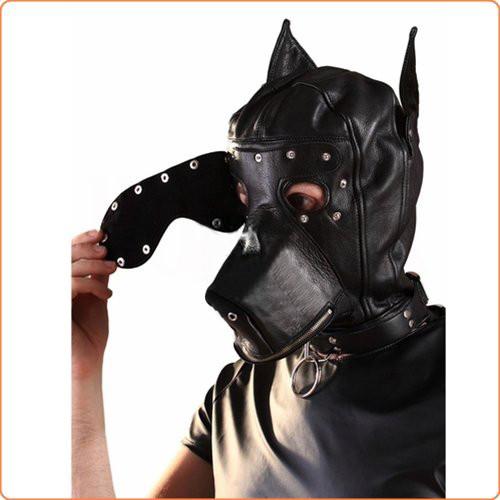 Hunde-Kopfmaske mit Augenbinde