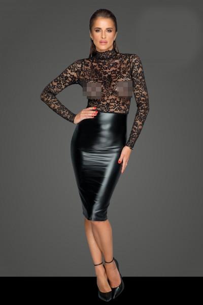 Midi-Powerwetlook-Kleid mit Spitze - vorne