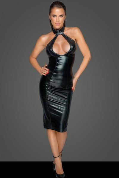 schwarzes Damen PVC Kleid mit Reißverschluss und Neckholder