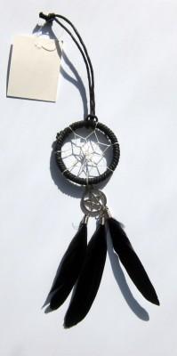 Dreamcatcher Anhänger mit Pentagramm - schwarz