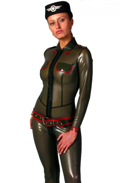 Latex Catsuit - Army - Schulterklappen, Brusttaschen, Gürtel