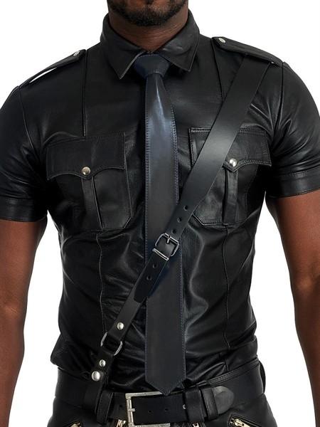Leder Krawatte mit Nähten - schwarz