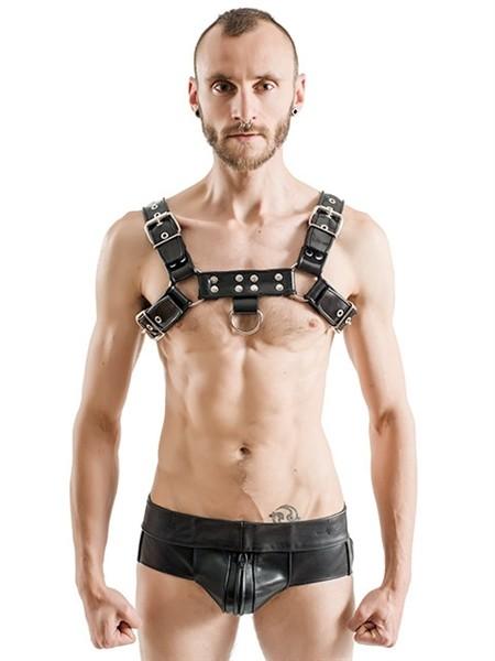 Gummi Harness mit D-Ring - schwarz