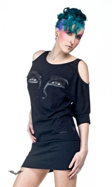 Schulterfreies Kleid mit Augen-Aufdruck