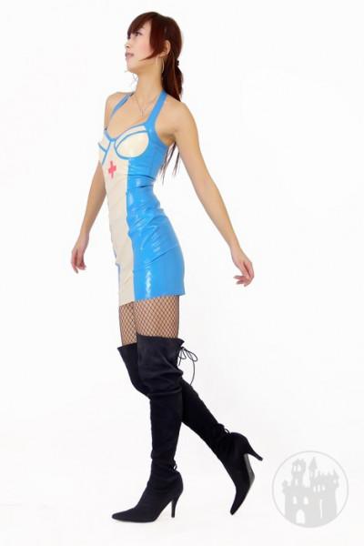 Latex Krankenschwester Kleid mit Schulterträgern