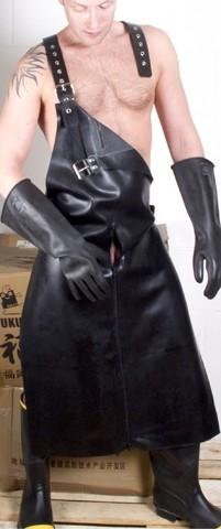Latex Schlachterschürze mit Harness und 3-Wege RV schwarz
