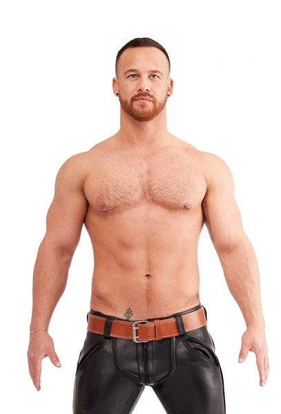 Leder Gürtel mit Nähten 5cm