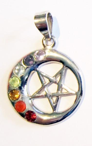 Silber-Anhänger Halbmond mit Pentagramm und Chakrasteinen