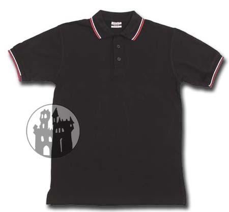 Poloshirt mit Knopfleiste und rot/weißen Zierstreifen