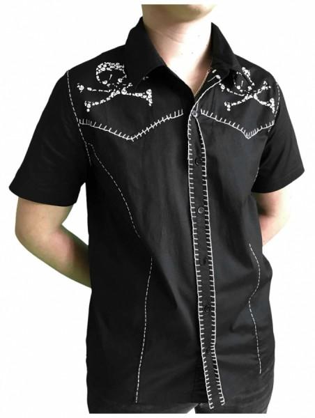 Gothic Hemd mit Totenköpfen